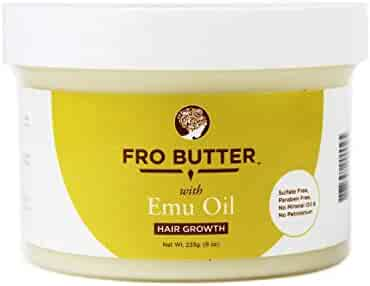 Fro Butter Emu Oil Hair Growth Treatment | Shea Butter, Virgin Coconut & Lavender Oil, Pumpkin Seeds & Nourishing Extracts | For Fast Hair Restoration, Split Ends, Damaged & Brittle Hair, Men & Women