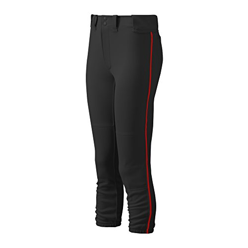 Black Softball Slides (Mizuno Women's Select Belted Piped Pant (Black/Red, X-Large))