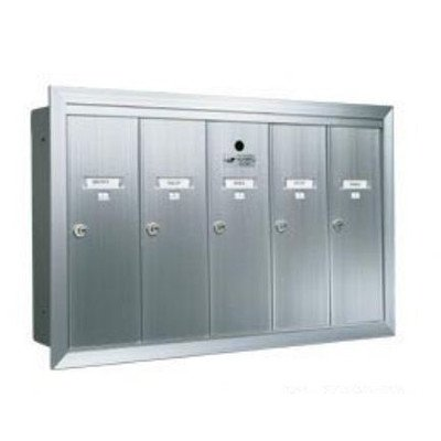 Recessed Vertical 1250 Series, 5 Door Mailbox, Anodized Aluminum