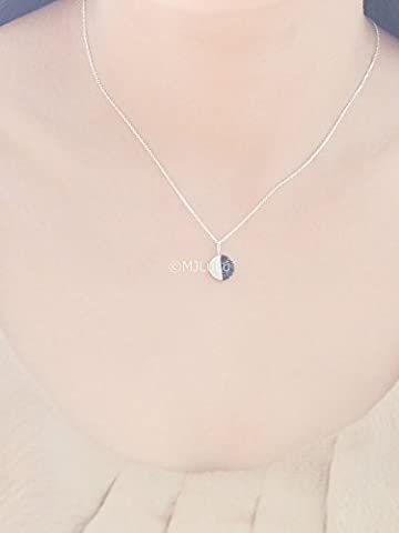 Black Howlite Half Moon Lunar Necklace in Sterling Silver 925 (Moon Phase Pendant)