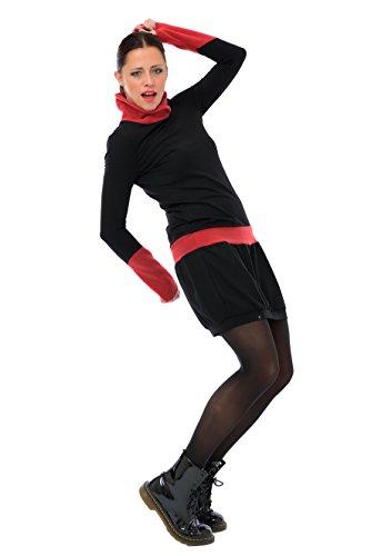 3elfen Robe D'hiver Robes À Manches Longues Polaire / Sweat-shirt À Col Roulé Femme Noire - La Main À Berlin Par Casual Lâche Noir Rouge