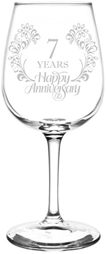 Personalized & Custom (7th) Beautiful & Elegant Floral Happy Anniversary Wedding Ring Inspired - Laser Engraved 12.75oz Libbey All-Purpose Wine Taster Glass Anniversary Wine Art