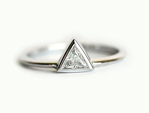 - Triangle Diamond Engagement Ring,Trillion Ring, Trillion Diamond, Trillion Cut Ring, White Gold Engagement Ring