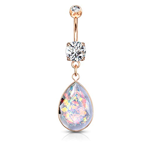 Pierced Owl Faceted Rainbow Opalite Teardrop Dangling Belly Button Navel Ring (Rose Gold Tone)
