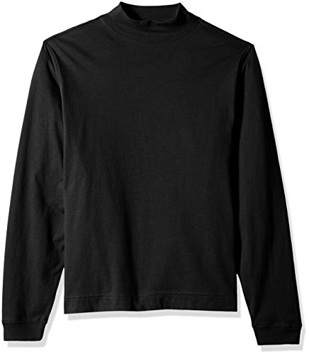 (D & Jones Men's Sueded Cotton Jersey Mock Turtleneck, BLACK L)