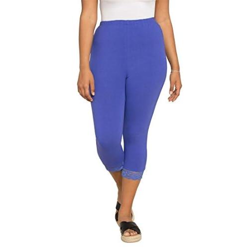 c56fd7c7dc7 durable modeling Roamans Women s Plus Size Lace Trim Capri ...
