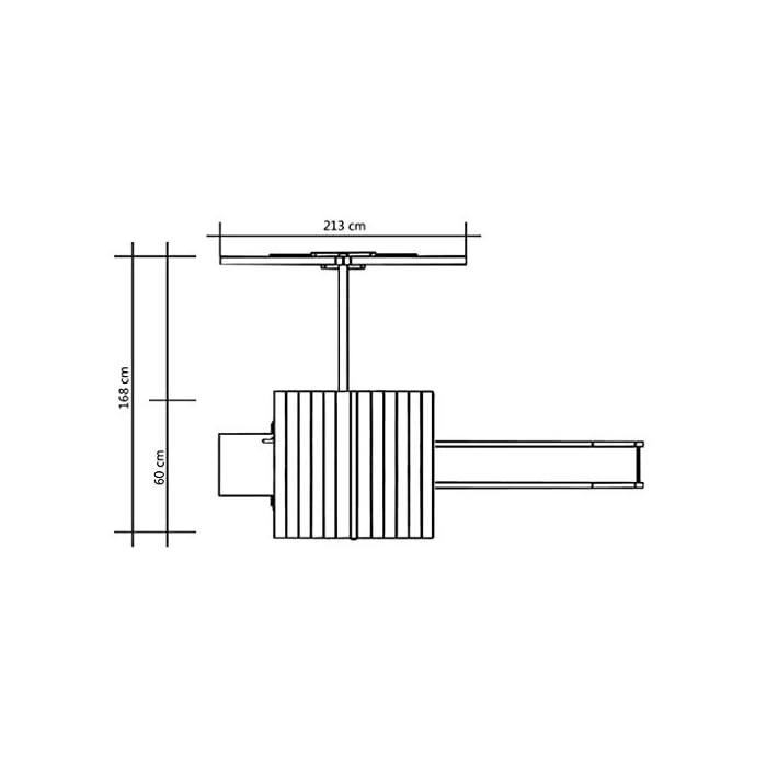 Su robusta estructura es de madera de pino impregnado con certificación FSC. Este parque infantil de madera maciza es muy robusto, resistente a la intemperie y duradero. La escalera de cuerda está unida a la estructura mediante ganchos metálicos resistentes al desgaste.
