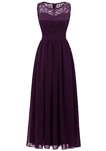 Dressystar 0046 Lace Chiffon Bridesmaid Dress Sleeveless Formal Wedding Party Dress Grape 2XL