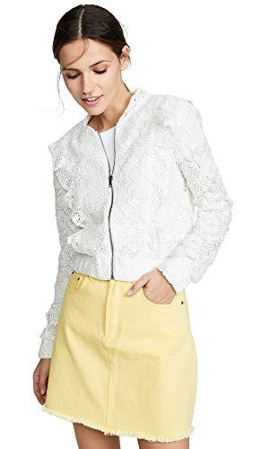 BB Dakota Women's Lace Closed Bomber Jacket, Off White, X-Small