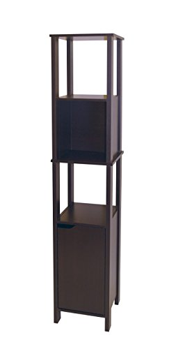 Neu Home Tall Slim Bathroom Storage Cabinet Tower, Dark Espresso