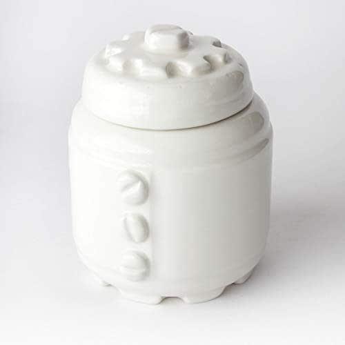 Azucarero de Cerámica Artesanal, Más colores disponibles, diseño mecánico con engranajes y tornillos - h 10,5 x Ø 8cm (Blanco)