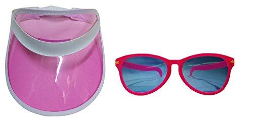 Pink Clear Visor Goofy Jumbo Sunglasses Fun Clown Beach Hat Costume - Glasses Big Goofy