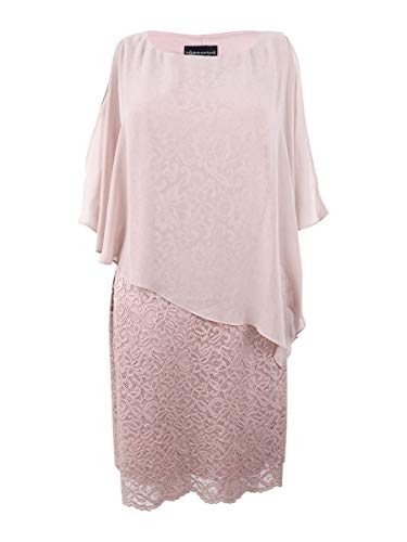 (Connected Women's Capelet Lace & Chiffon Dress (8, Nude))