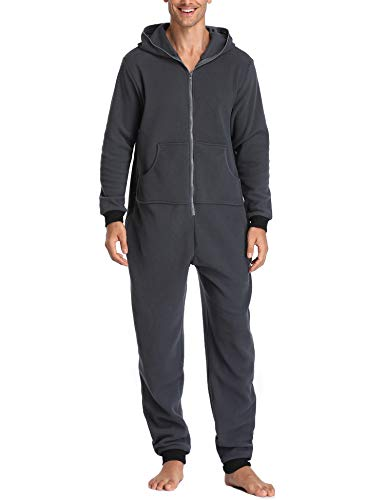 Lusofie Mens Lazy Adult Onesie One-Piece Pajamas Hooded Non-Footed Jumpsuit