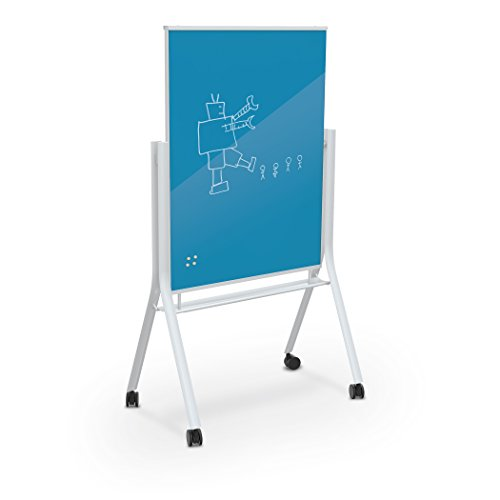 Visionary Glass (Best-Rite 74957-Blue Visionary Curve Colored Glass Whiteboard Easel White Frame Blue 47.24