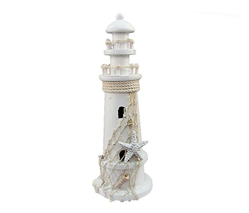 Puzzled White Wooden Lighthouse Nautical Decor