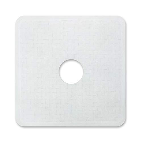 Templeton Home Shower Mat with Center Cut Hole, Non Slip Texture, Suction Cups, Mold & Mildew Resistant