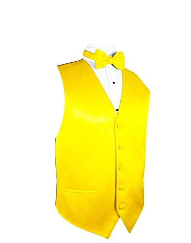 Exclusive Distributor Solid Dress Vest & Bow Tie Set-10-S-Yellow Gold-XS