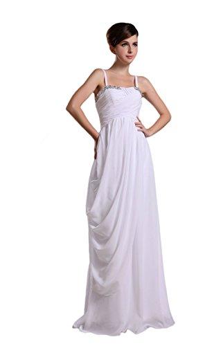 Novia Mall spaghtti de la mujer correas cuentas Evening Party vestidos blanco blanco 46