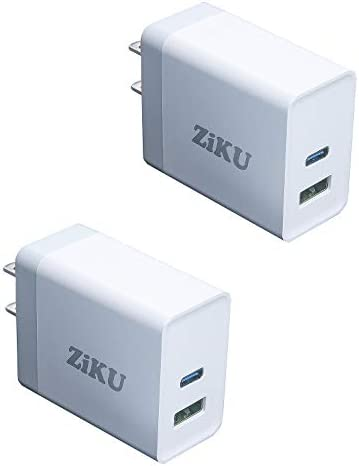 USB C Charger, ZIKU 2-Pack 30Watt 2-Port iPhone Fast Charger Power Adapter PD Charger for iPhone 12/12 Pro/12 Pro Max, MagSafe Duo, 11/11 Pro/Max/XR/XS/X, Galaxy S10, iPad Pro More