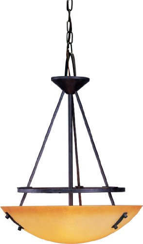 Volume Lighting Lodge 3-Light Frontier Iron Bowl-Shaped Pendant ()