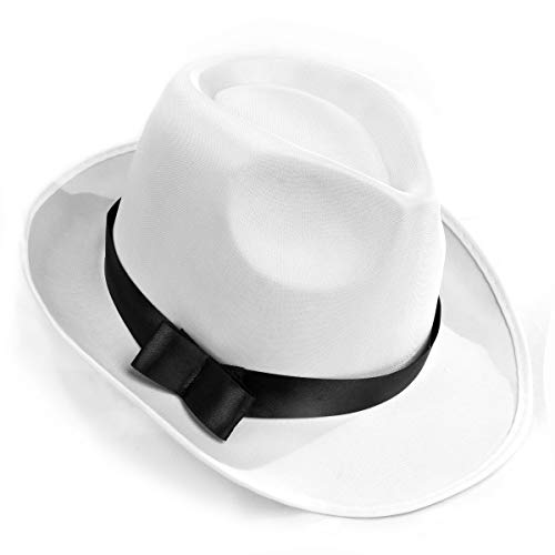 White Gangster Fedora Hat - One Size with Premium Fit Elastic Band ()