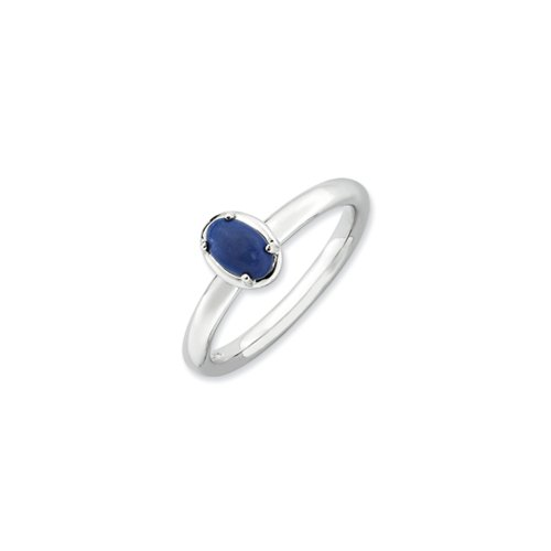 (Sterling Silver Stackable Blue Lapis Ring, size 10)