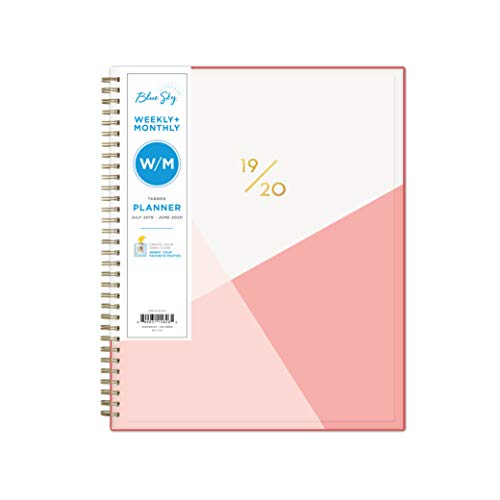 "Blue Sky 2019-2020 Academic Year Weekly & Monthly Planner, Flexible Cover, Twin-Wire Binding, 8.5"" x 11"", Cali Pink"