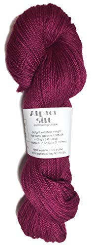 Hand Dyed Alpaca Silk Yarn, Kettle Dyed: Burgundy Red, Dk Weight, 100 Grams, 245 Yards, 70/30 Baby Alpaca/Mulberry ()