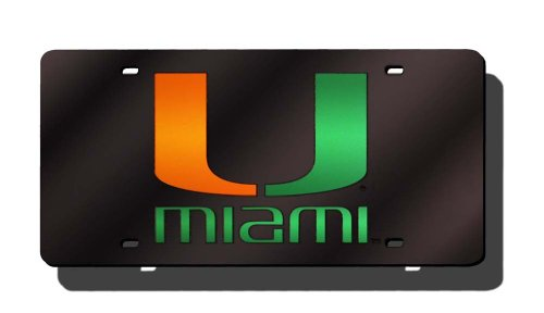 University Of Miami License Plate - Rico Industries NCAA Miami Hurricanes Laser Inlaid Metal License Plate Tag