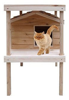 Large Outdoor Cat House with Platform & Loft | Thermal-ply Insulation | Waterproof Shelter | Cedar...