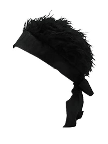Visor with Fake Flair Hair Novelty Pirate Hat Funny and Adjustable Strappy Hat ()