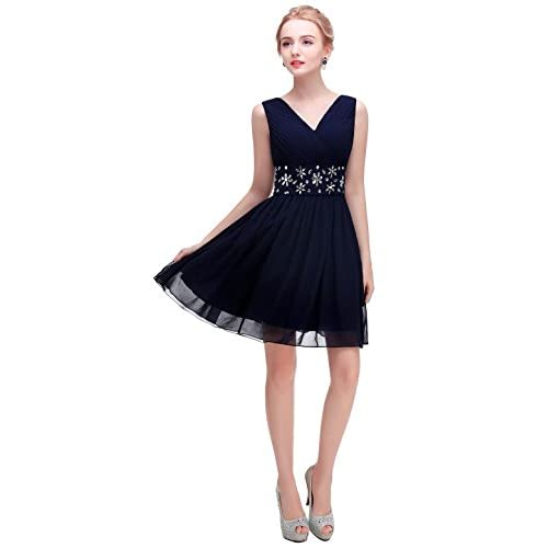 Discount esvor V-Neck Short Prom Party Bridesmaid Dress With Beaded Waist for sale
