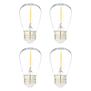 AmazonBasics Replacement LED String Light Bulbs S14 Shape, Edison Style, 1 Watt Power - 4-Pack