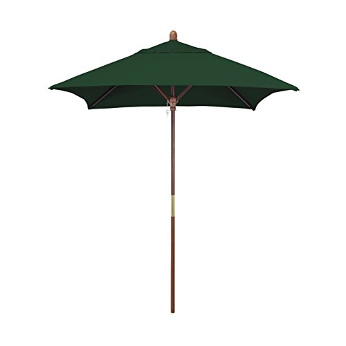 California Umbrella 6' Square Hardwood Frame Market Umbrella, Stainless Steel Hardware, Pulley Lift, Sunbrella Forest (6 Foot Square Patio Umbrella)