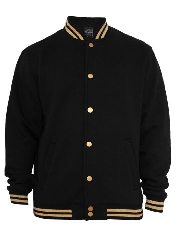 Urban Classics Metallic College Sweatjacket, black/gold, Größe L