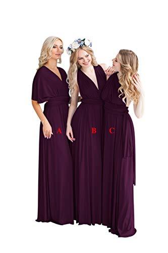 Yangprom Womens Luxurious A-line Wrap Bridesmaid Dress Long Prom Dress Plum-B 22 ()