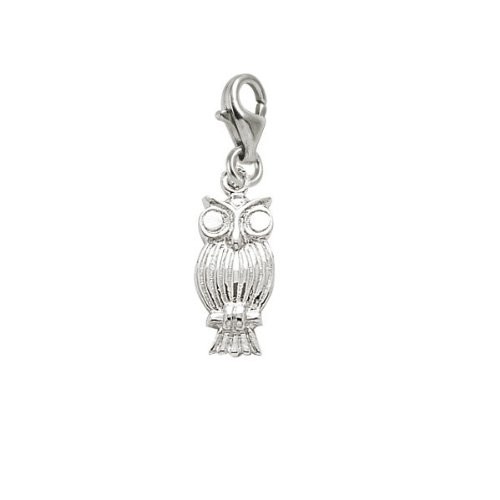 Rembrandt Owl Bird Charm - Rembrandt Charms Owl Charm with Lobster Clasp, Sterling Silver