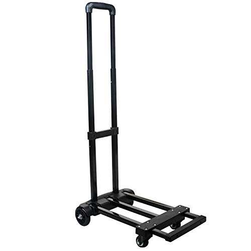 eclife Folding Hand Truck 200 lbs Heavy Duty Loading Capacity 4 Wheel-Roate Solid Construction Utility Cart Compact & Lightweight, Hand Trolley for Luggage/Travel/Moving - Portable Fold Up TL-A03