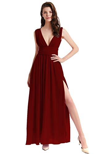 HIHCBF Bridesmaid Wedding Chiffon Dress Sexy Women's Double V-Neck Split A-Line Cocktail Party Evening Prom Long Gown Burgundy 16