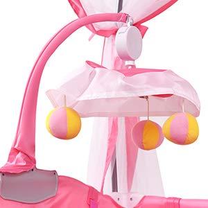 Lettino da Gioco Pratico 110x78x76 cm Rosa GOPLUS 2 in 1 Lettino per Neonato con Materasso Culla con Giocattolo e Zanzariera Portatile