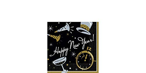 amscan Black Beverage Happy New Year Napkin Value Pack, 100 Ct. | Party Tableware ()