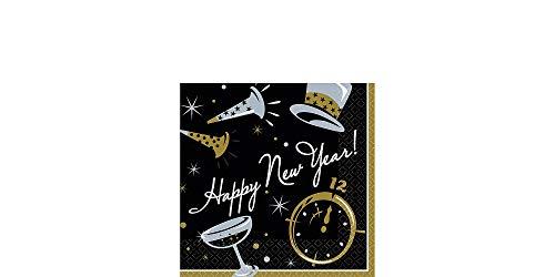 amscan Black Beverage Happy New Year Napkin