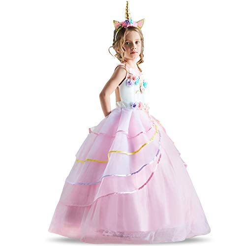 TTYAOVO Flower Girls Unicorn Costume Dress Girl Princess Pageant Ball Gowns 5-6 Years Pink -