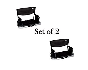 Rio Brands Stadium Arm Chair Firm Comfortable Back Support, Black (Set of 2) by Rio Brands