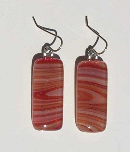 Terra Cotta Orange and White Swirl Fused Glass Earrings with Solid Sterling Silver Ear Wires