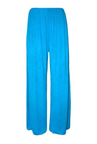 Turquoise Chenone Pour Pantalon Uni Femme Baggytrousers Jambe Palazzo Large Décontracté Évasé qHv7Uq