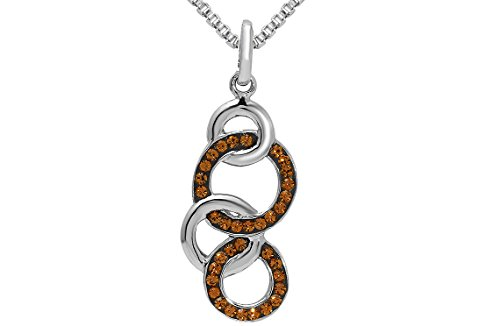 18' Round Box Chain - Sterling Silver Multi-linked Circle Pendant Necklace With Genuine Swarovski Crystals 18'