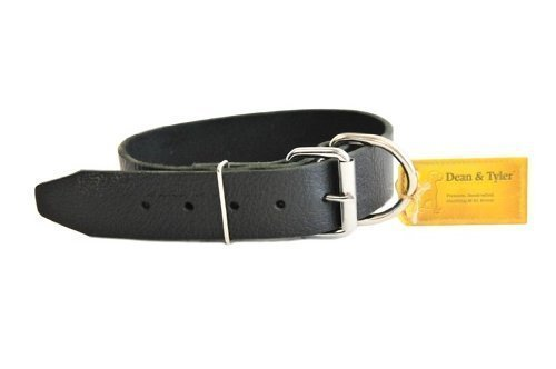 Dean and Tyler B and B , Basic Leather Dog Collar with Strong Nickel Hardware Black Size 18-Inch by 1-1 2-Inch Fits Neck 16-Inch to 20-Inch