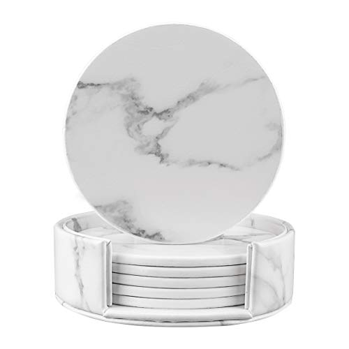 Coasters for Drinks, Round Marble Leather Coasters with Holder Set of 6 Protect Your Furniture (White Marble, - Coaster Leather Drink